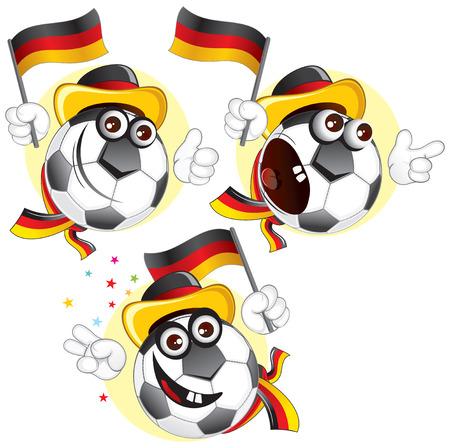 in german: Cartoon football character emotions - Germany