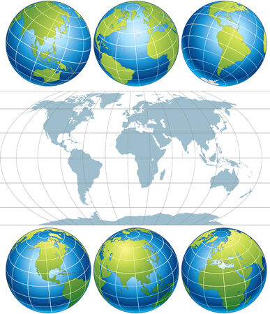 asia globe: Classic Globes with World Map  elements with easy editable simple gradients