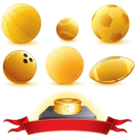 ten pin bowling: Gold Balls for pedestal- illustration