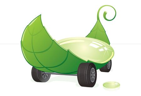 air pollution cartoon: Green car concept - eco   clip art Illustration