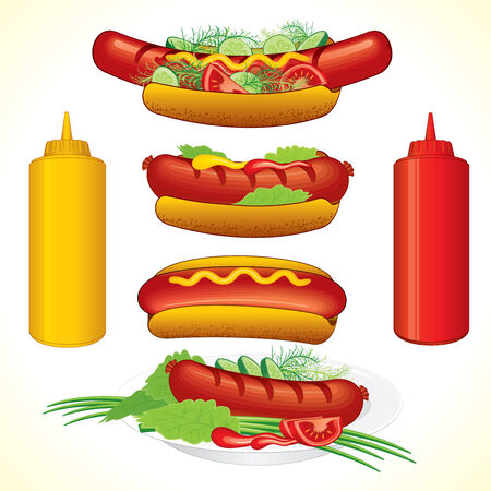 hot dog: Hot dogs illustrations-detailed  all objects separated and grouped Illustration