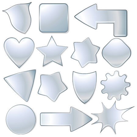bursts: insieme di oggetti metallici, icone isolate  Vettoriali