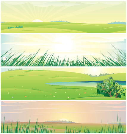 Four different beautiful nature banners Vector