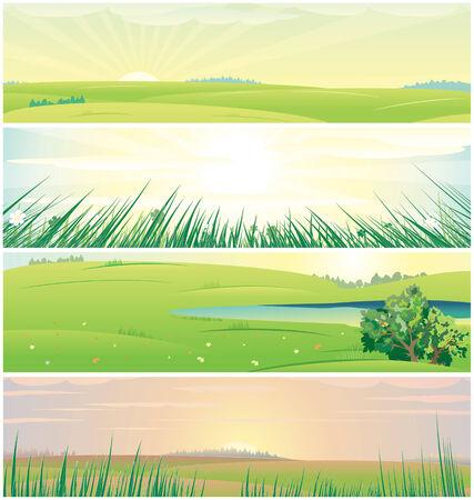 Quatre bannières de nature différente de la belle