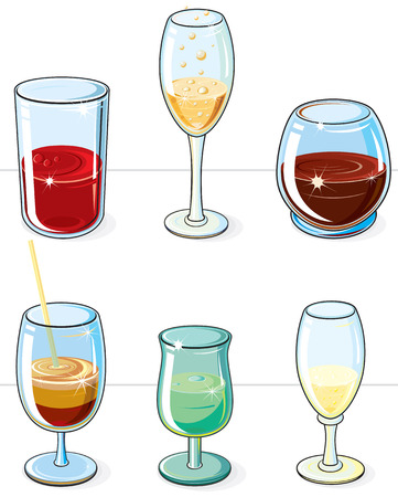 Alcohol Glasses   (NO gradients NO meshes) various isolated  drinks and glasses Stock Vector - 7739483