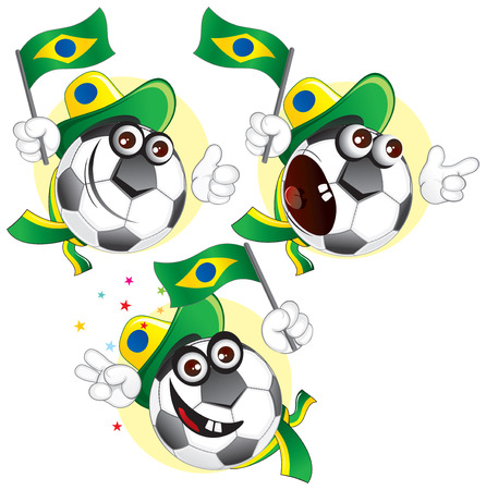 colour fan: Cartoon football character emotions- Brazil Illustration