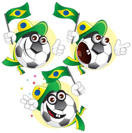 Cartoon football character emotions- Brazil
