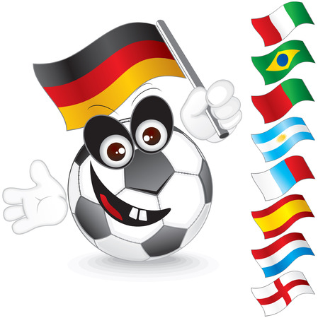 world sport event: Funny soccer ball with various flags for hand