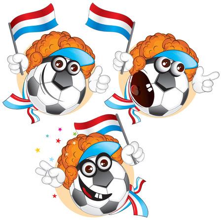 the netherlands: Cartoon voet bal teken emoties-Nederland Stock Illustratie