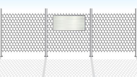steel construction: Catena di recinzione di collegamento con segno metallico per il testo