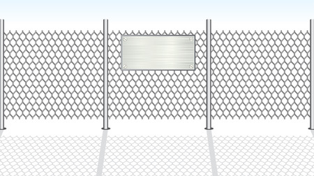 iron fence: Chain link fence with metallic sign for your text Illustration