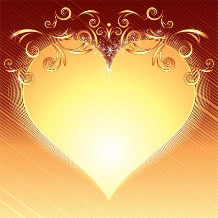 Valentines stylized golden frame  Vector