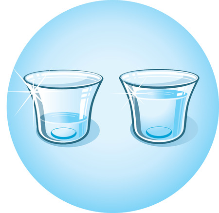 shot glass: Glass with Clear Water.  clip art  Illustration
