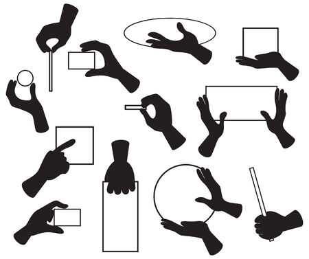 illustration of hands with various objects  Çizim
