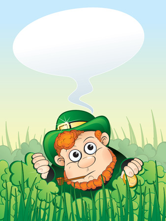 irish culture: St. Patricks Day, Leprechaun with speech (vector clip art)