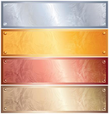 lamiera metallica: Varie placche metalliche con rivetti, oro, argento, bronzo, rame  Vettoriali