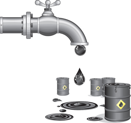 industrial drop: Oil faucet.  illustration
