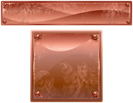 white plate:  Copper Metal plates with rivets  Illustration