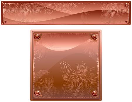Placas de metales de cobre con remaches  Ilustración de vector