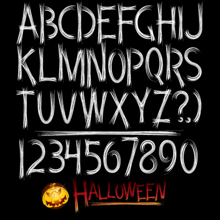 Decorative scary style alphabet.   Vector