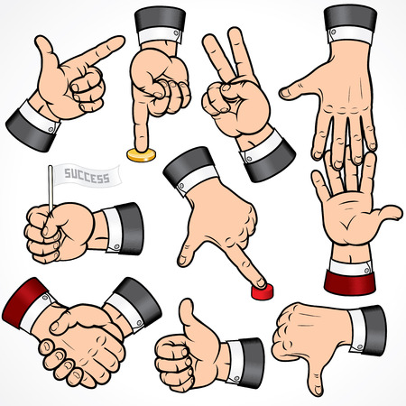 bank office: Set of Businessman Hand Gestures-detailed  design elements.