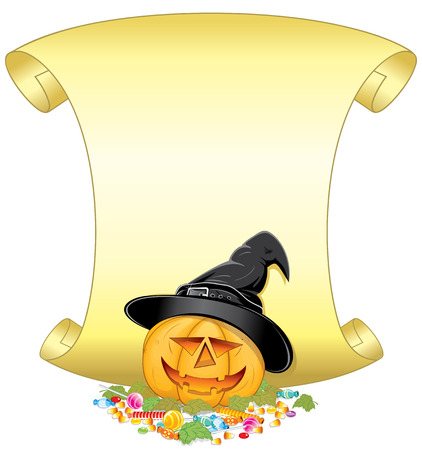 Smiling Halloween Pumpkin with hat, candies, autumn leafs and golden scroll-for your own greeting text.   Vector