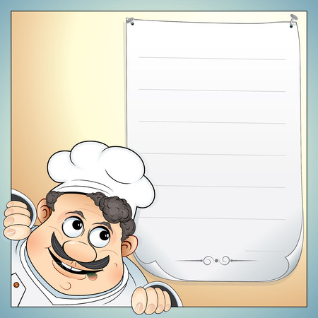gourmet cooks: Illustration of Cute Chef with blank menu-for your own text. To see more - please visit at my gallery.