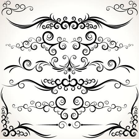 regel: Diverse elegantie regel lijnen en hoeken - decoratieve elementen voor uw ontwerp.  Bezoek op mijn galerie om meer - te zien. Stock Illustratie
