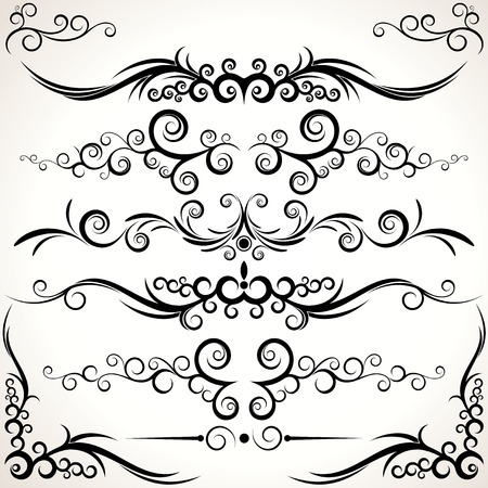 Various elegance rule lines and corners -   decorative elements for your design.  To see more - please visit at my gallery. Stock Vector - 7782918