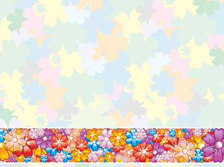 Pastel Flowers Background with Border Element . Stock Vector - 7782957