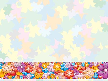 flores color pastel: Pastel fondo de flores con elemento de fronteras.