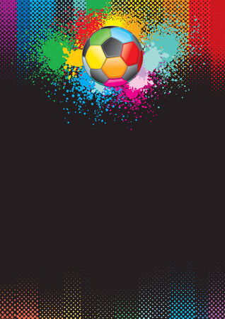 football kick: Festive soccer background.  Illustration