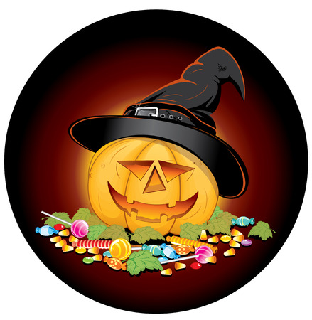 indulgence: Halloween symbol - Pumpkin with lot of sweets.   Illustration
