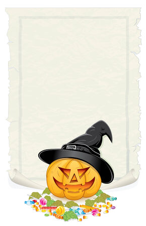Halloween background with festive pumpkin, candies, sweets and blank parchment for your greeting text.  Vector