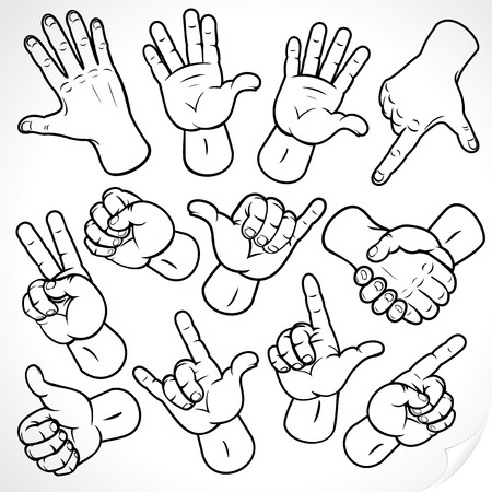 pointing finger pointing: Contour hands collection-accuracy sketching of hand gestures - color version at portfolio Illustration