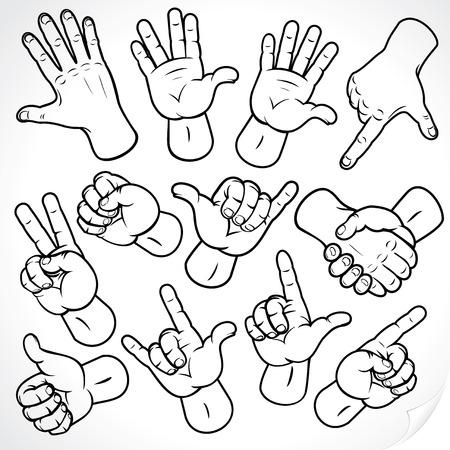 powerpoint: Esbozo de precisi�n de la colecci�n de manos de gestos de la mano - versi�n en color en la cartera de contorno