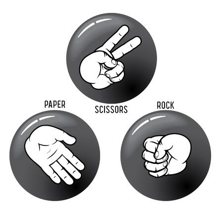 rock hand: Roccia - libro - forbici, pulsanti. Per vedere un simile - visita alla mia galleria.  Vettoriali