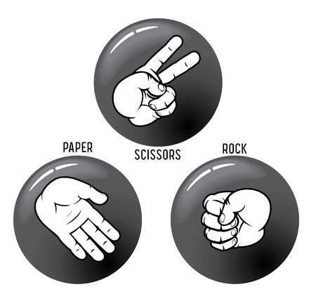 Rock - Paper - Scissors,   buttons. To see similar - please visit at my gallery. Vector