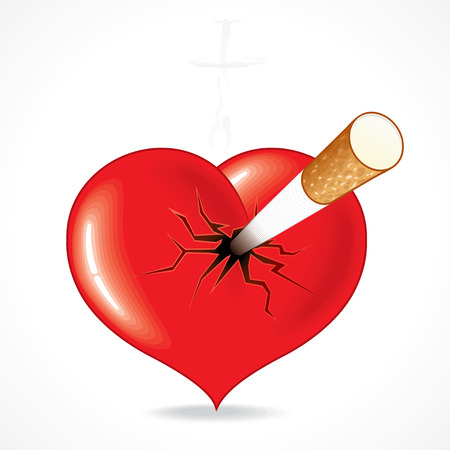 Smoking kills -   Illustration of red heart impaled by cigarette.  To see more - please visit at my gallery. Vector