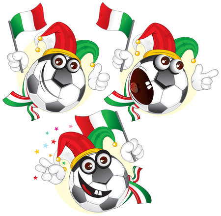 Cartoon football character emotions - ITALY.  Vector