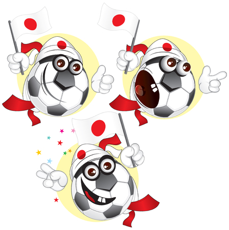 Cartoon football character emotions - Japan. To see similar - please visit at my gallery. Vector