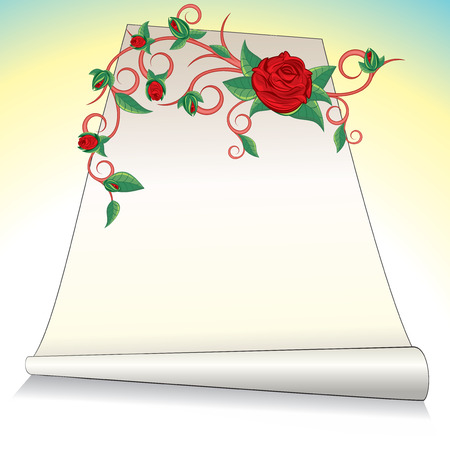 Romantic postcard with roses flower.  Vector