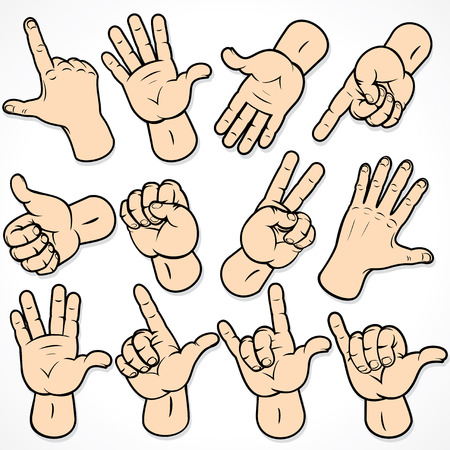 Gestos y señales - conjunto de manos para su diseño. Para ver similares - visite mi galería.
