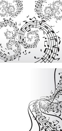 Two music monochrome  backdrops.  Vector