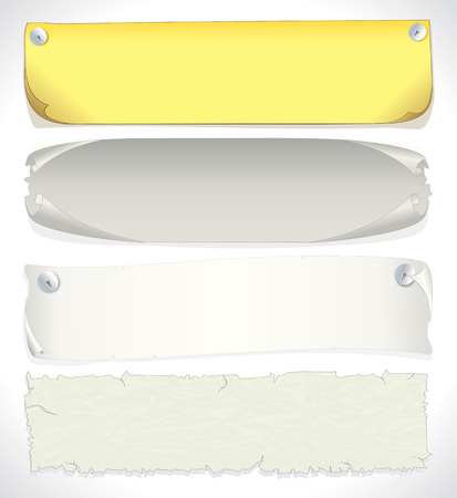 plain: Paper banners -   illustration of assorted aged papers and parchments.