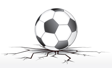 cracked wall: Soccer ball