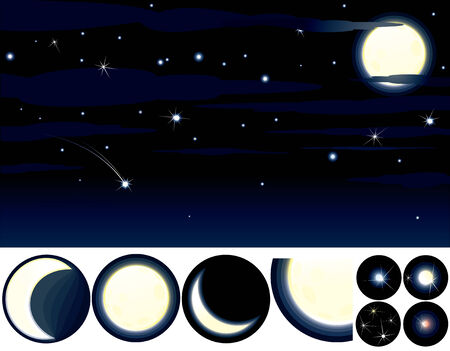Collection of Stars,Moons and other elements to create your own night sky Stock Vector - 7783058