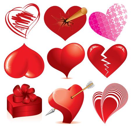Colección de corazones detallada - varios estilizada símbolos de amor para el diseño