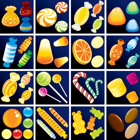 candy bar: -Dolce Goodies dolciario includono la canna da zucchero candito isolato, discesa di caramelle, taffy, bonbon, lecca, gommosi, pralina, jelly bean, ecc.  Vettoriali
