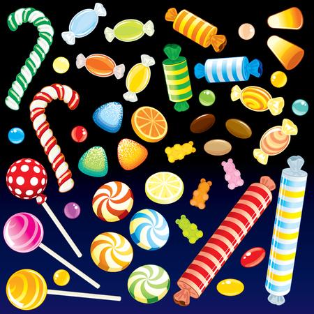 Lot of vaus Candies from Candy Store - detailed   all elements grouped, separated Stock Vector - 7783072